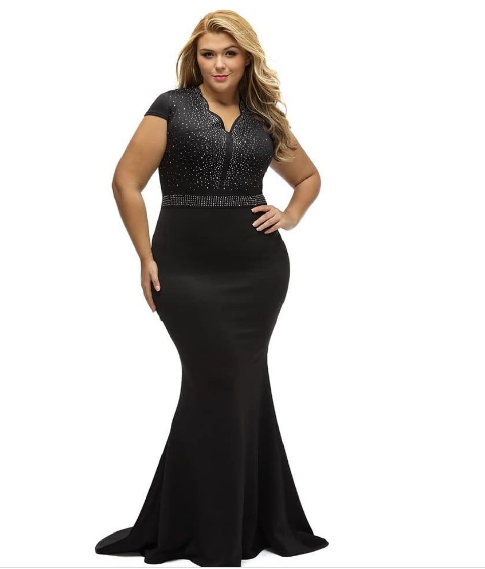 Style B076P5JVXR Lalagen Black Size 18 Plus Size Tall Height Wedding Guest Mermaid Dress on Queenly