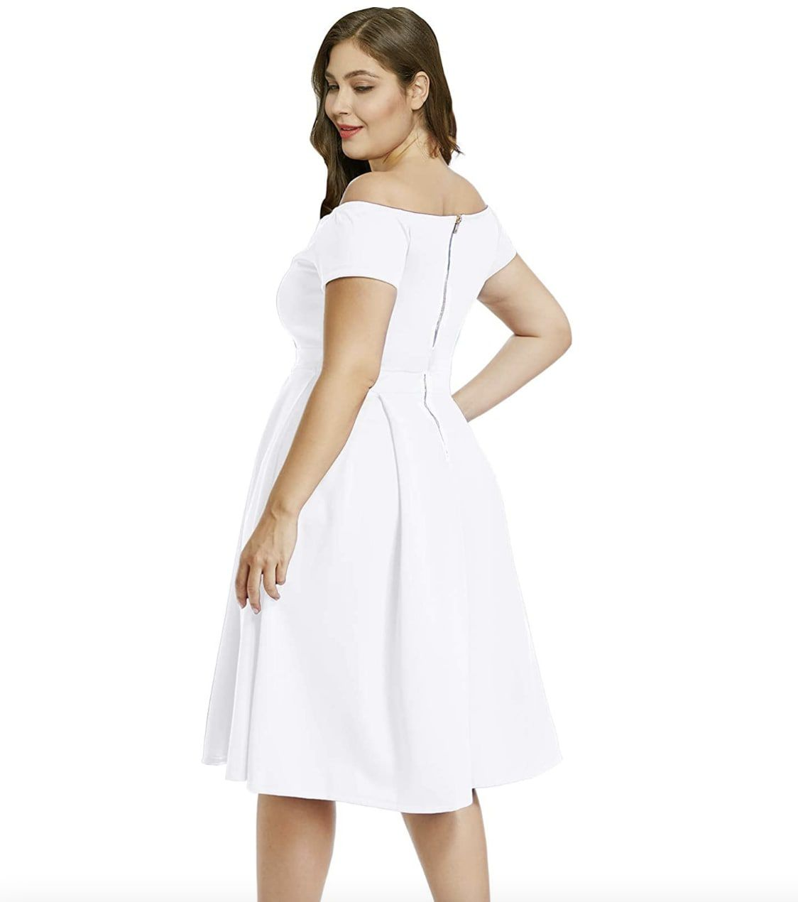 Style B07BPXV9LM Lalagen White Size 18 Flare Sweetheart Tall Height Cocktail Dress on Queenly