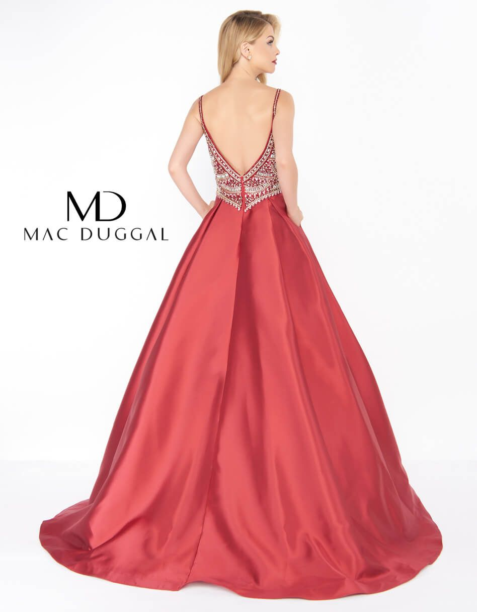 Style 66285 Mac Duggal Red Size 8 Backless Tall Height Ball gown on Queenly
