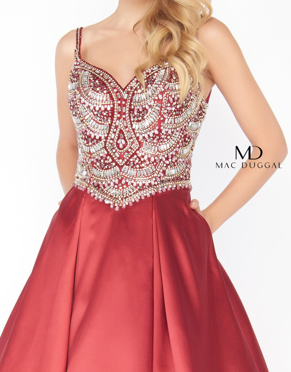 Style 66285 Mac Duggal Red Size 10 Sweetheart Backless Tall Height Ball gown on Queenly