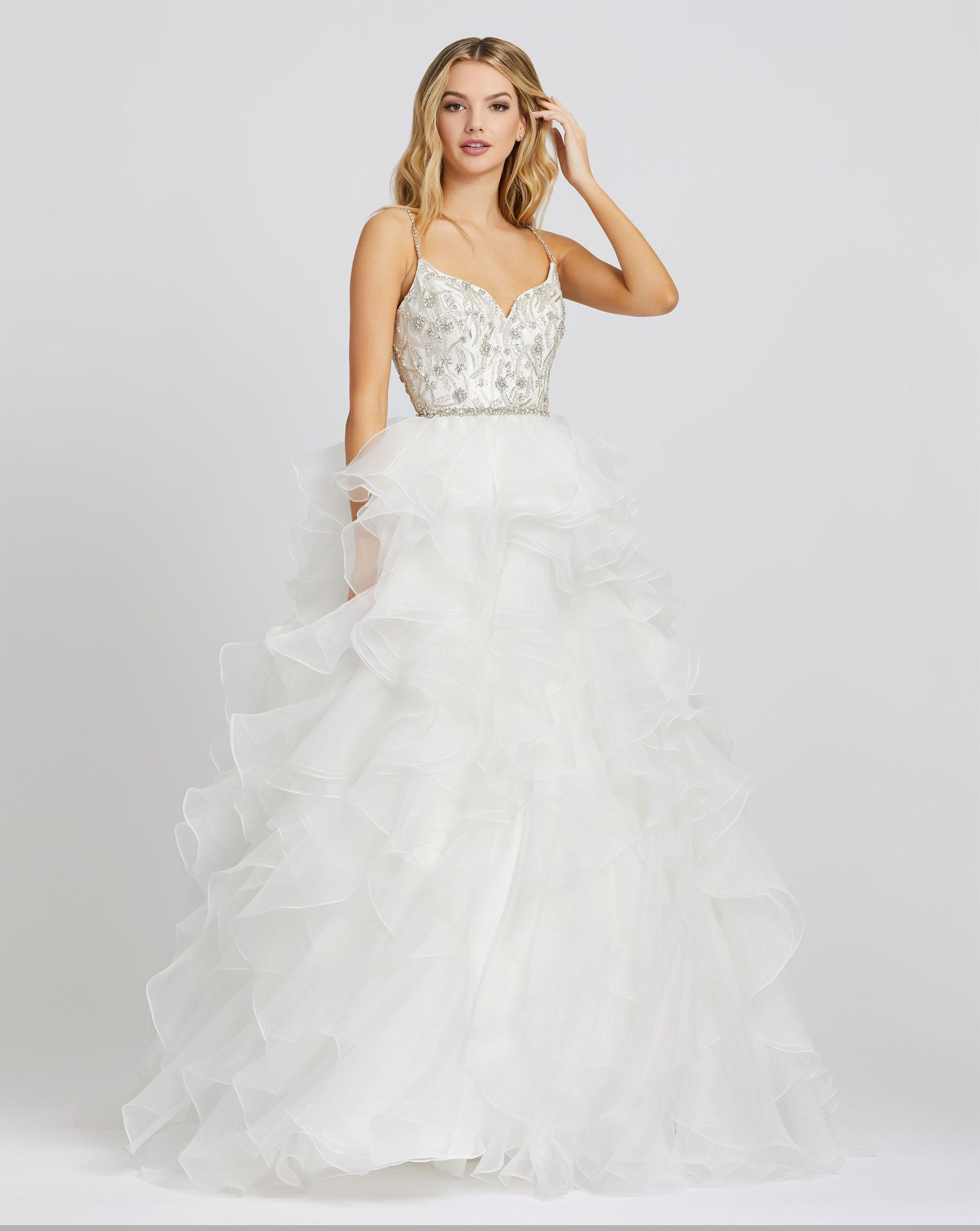 Style 48959 Mac Duggal White Size 4 Quinceanera Tall Height Ball gown on Queenly