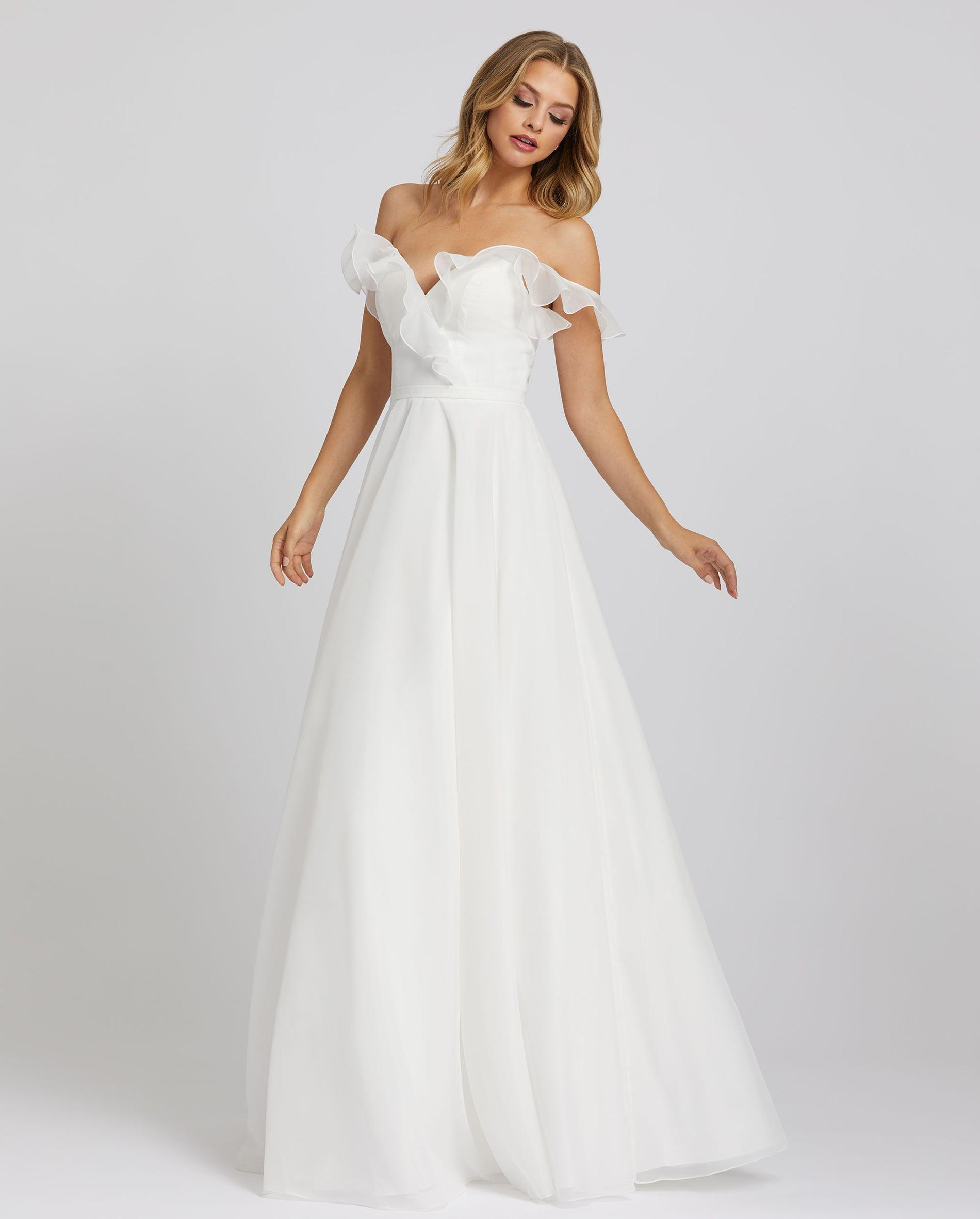 Style 48942 Mac Duggal White Size 14 Tall Height Ball gown on Queenly