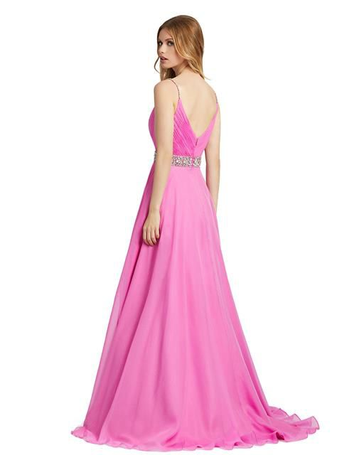 Style 48896 Mac Duggal Pink Size 8 Sorority Formal Tall Height Side slit Dress on Queenly