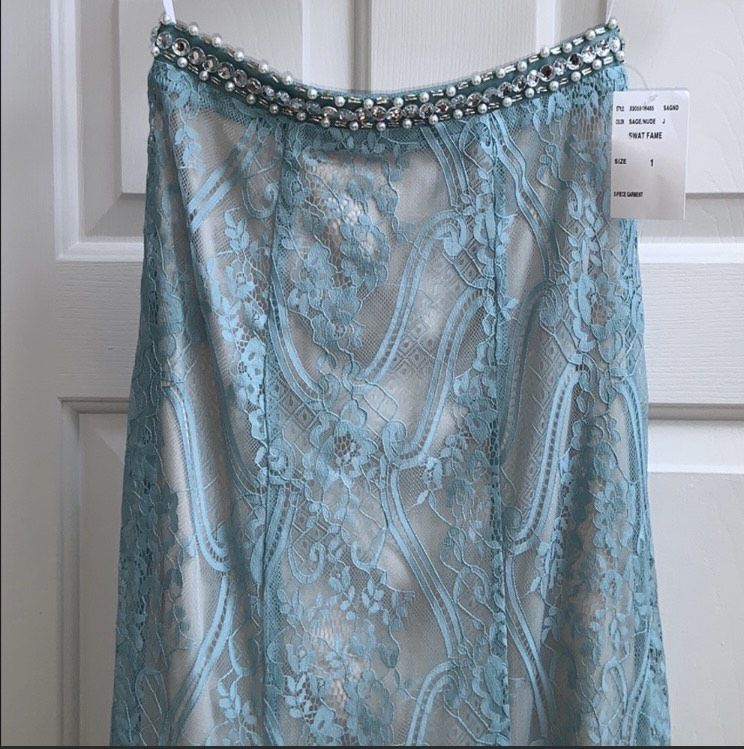 Extraordinary Blue Size 2 Lace Two Piece Side Slit Mermaid Dress on Queenly