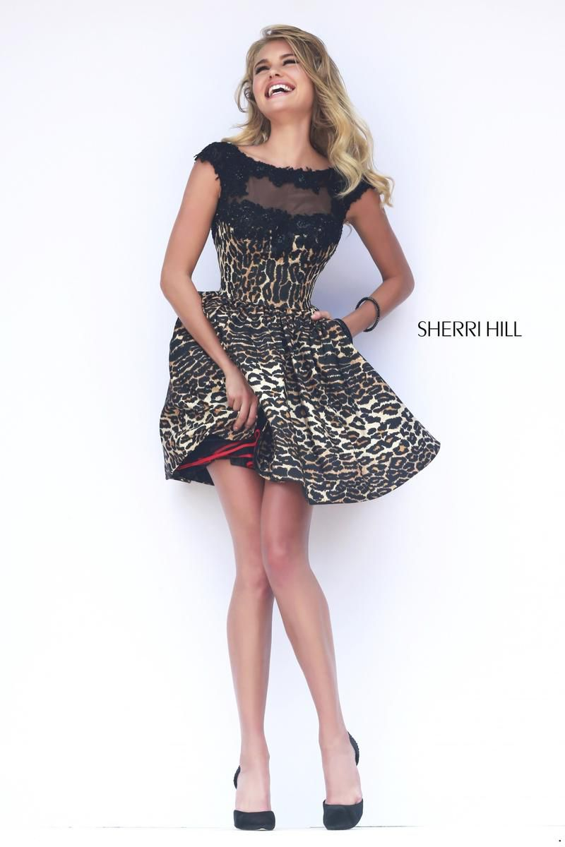 Style 32111 Sherri Hill Black Size 12 Mini Sheer Tall Height V Neck Cocktail Dress on Queenly