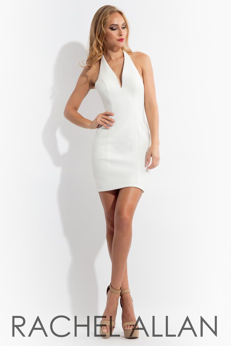 Style 4579 Rachel Allan White Size 4 Halter Sorority Formal Tall Height Cocktail Dress on Queenly