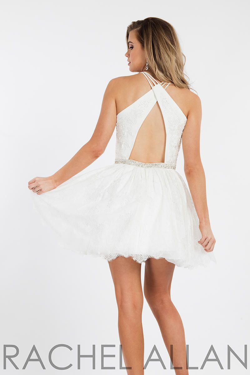 Style 4442 Rachel Allan White Size 4 Halter Sorority Formal Tall Height Cocktail Dress on Queenly