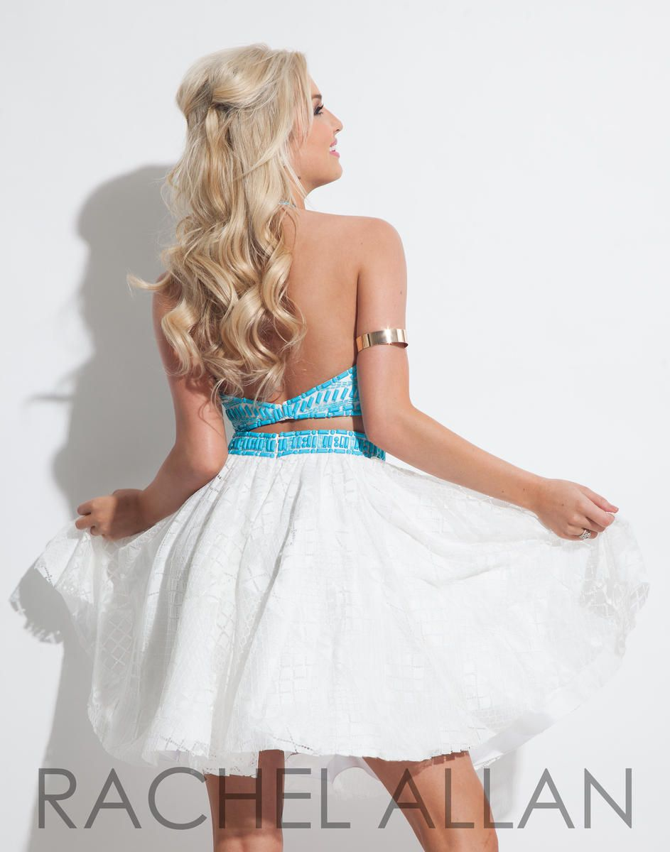 Style 4027RA Rachel Allan White Size 0 Halter Tall Height Lace Cocktail Dress on Queenly