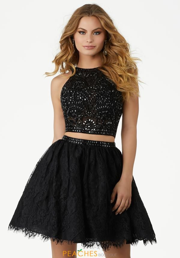 Mori Lee Black Size 8 Homecoming Flare Cocktail A-line Dress on Queenly