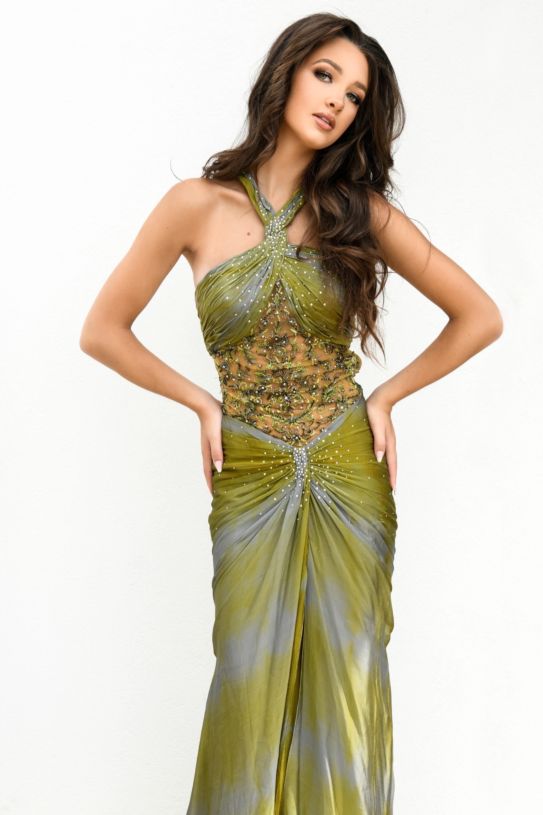 Stephen Yearick Green Size 0 Halter Side slit Dress on Queenly