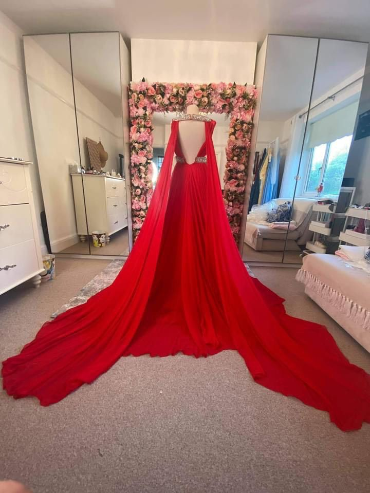 Colors Red Size 4 Pageant Backless Train A-line Dress on Queenly