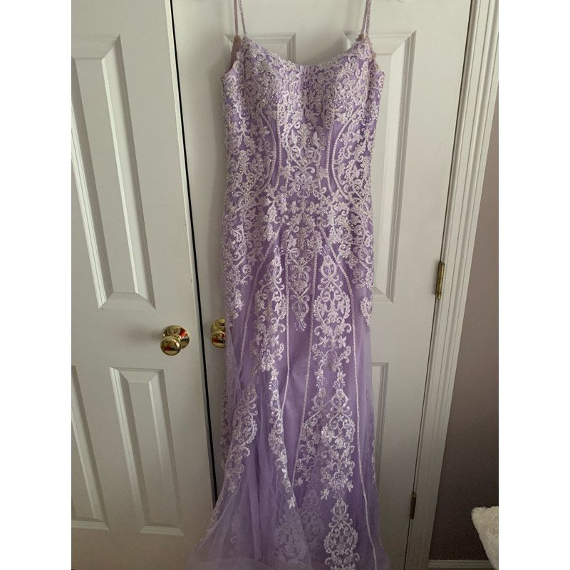 Jovani Purple Size 00 Fitted Sweetheart Le Femme Mermaid Dress on Queenly