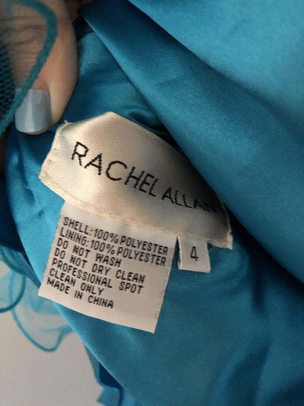 Rachel Allan Blue Size 4 Medium Height Flare Teal Cocktail Dress on Queenly