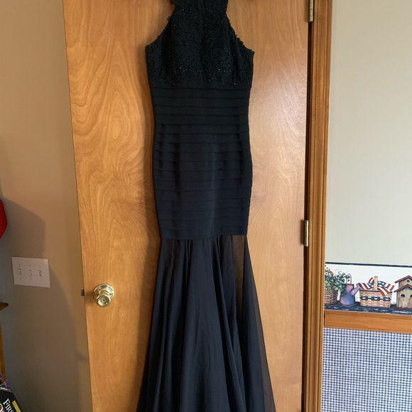 Sherri Hill Black Size 0 Halter Corset Sheer Mermaid Dress on Queenly
