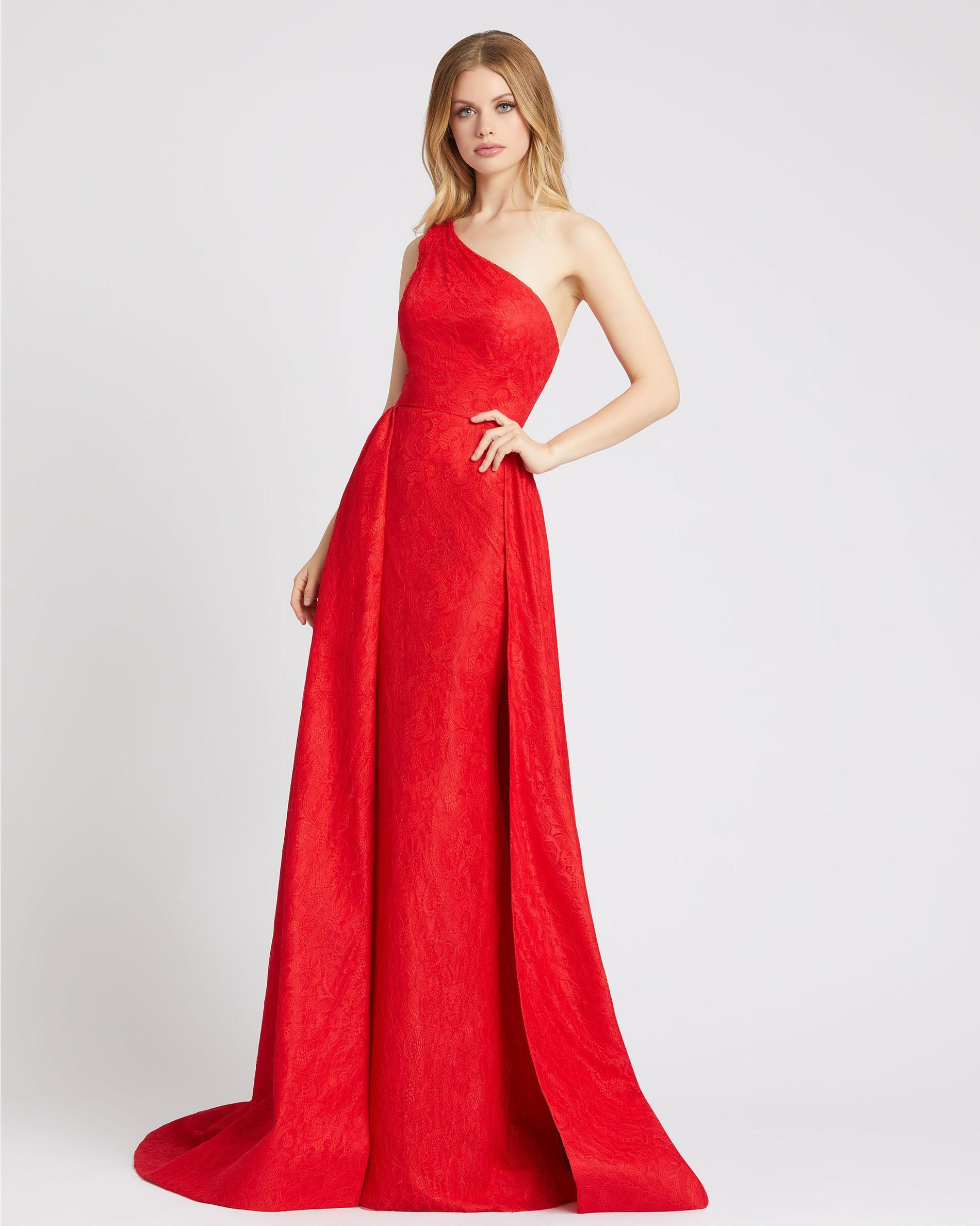 Style 12363 Mac Duggal Red Size 6 Pageant One Shoulder Tall Height A-line Dress on Queenly