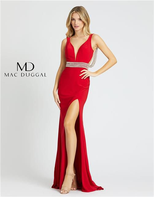 Style 12342 Mac Duggal Red Size 2 Backless Tall Height Wedding Guest Side slit Dress on Queenly