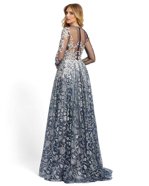Style 12233 Mac Duggal Silver Size 12 Sheer Tall Height Ball gown on Queenly