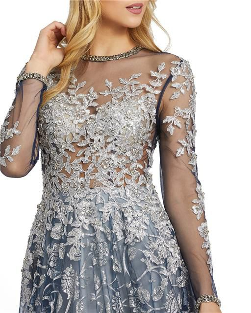 Style 12233 Mac Duggal Silver Size 14 Sheer Tall Height Ball gown on Queenly