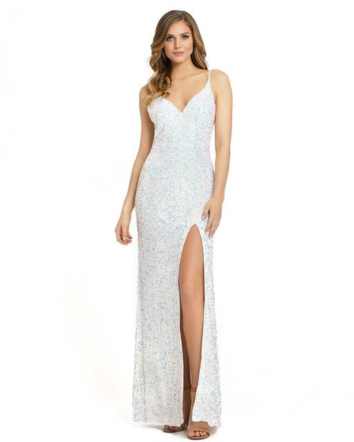 Style 5064 Mac Duggal White Size 4 Sorority Formal Tall Height Side slit Dress on Queenly