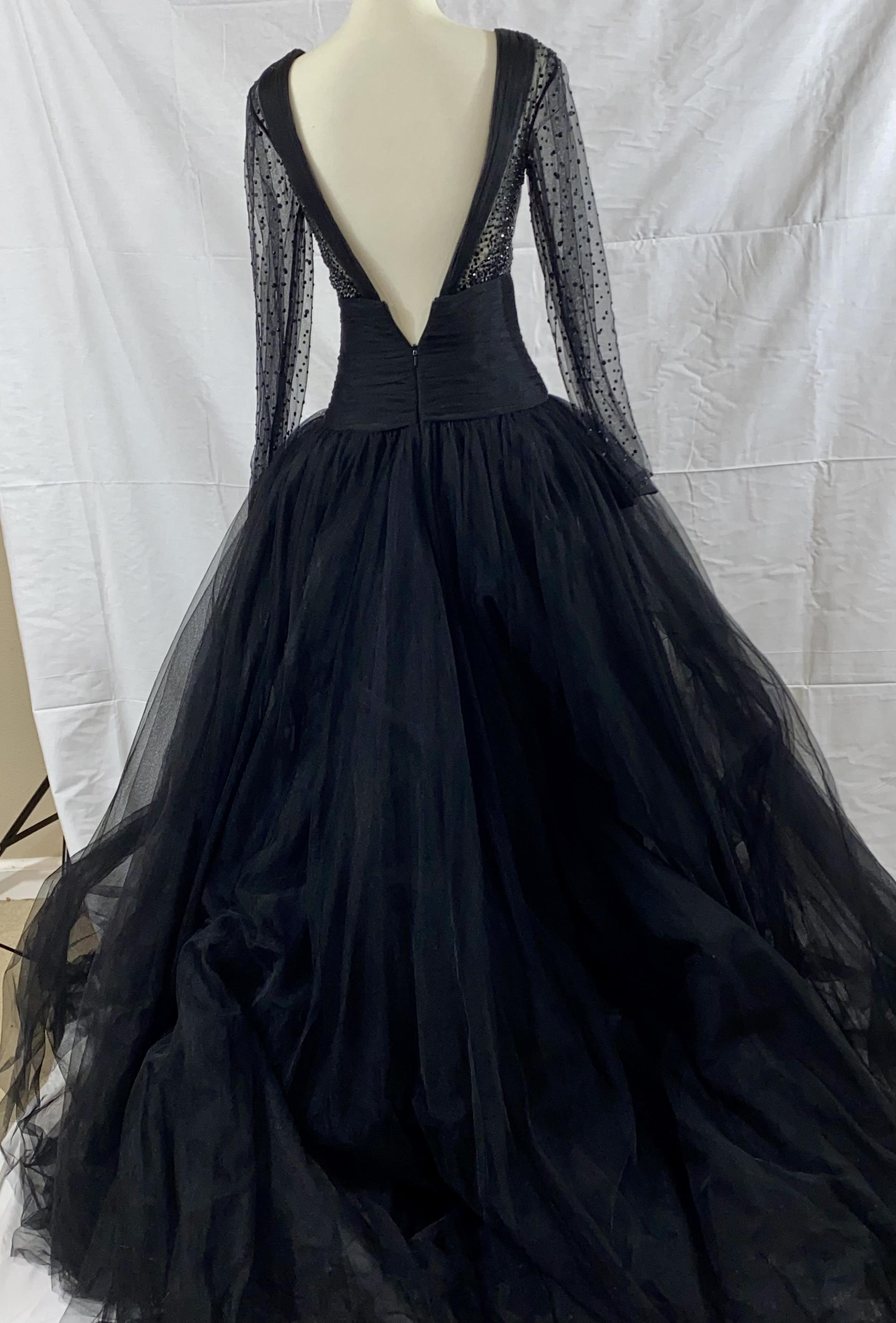 La Femme Black Size 0 Sheer Long Sleeve Vintage Ball gown on Queenly