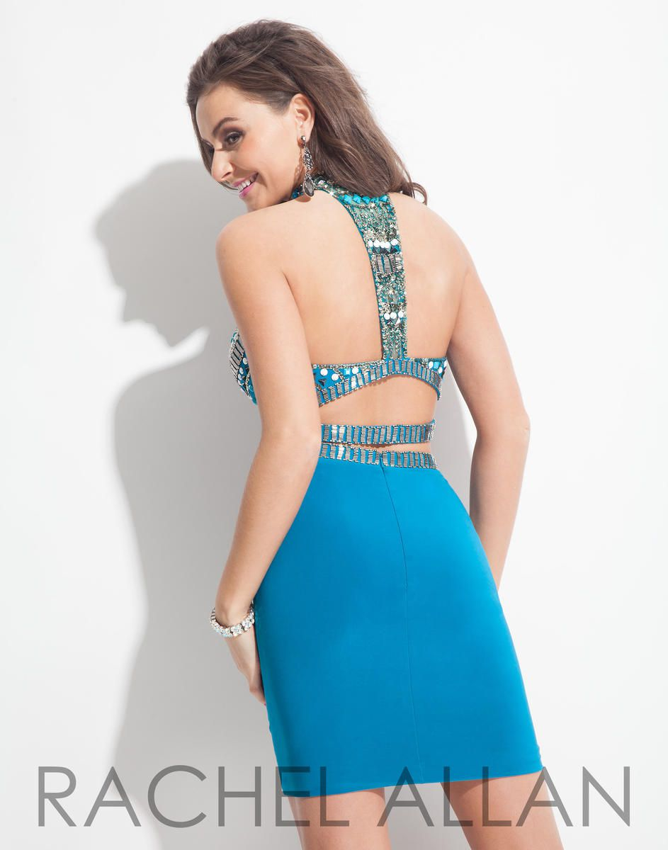Style 3995RA Rachel Allan Blue Size 8 Halter Sorority Formal Tall Height Cocktail Dress on Queenly
