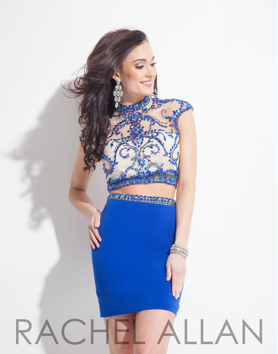 Style 3994RA Rachel Allan Blue Size 6 Mini Sorority Formal Tall Height Cocktail Dress on Queenly