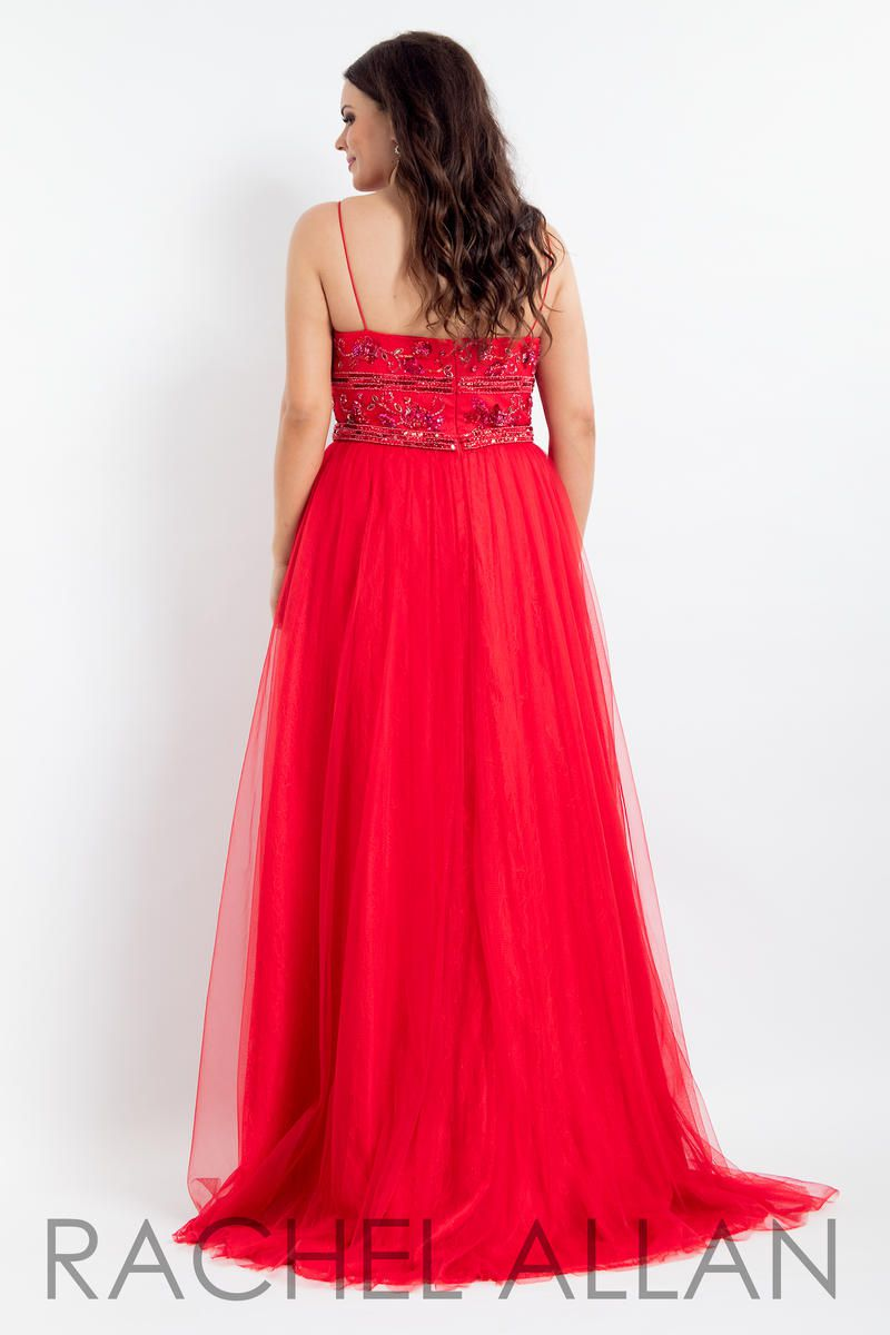 Style 6337 Rachel Allan Red Size 18 Pageant Tall Height A-line Dress on Queenly