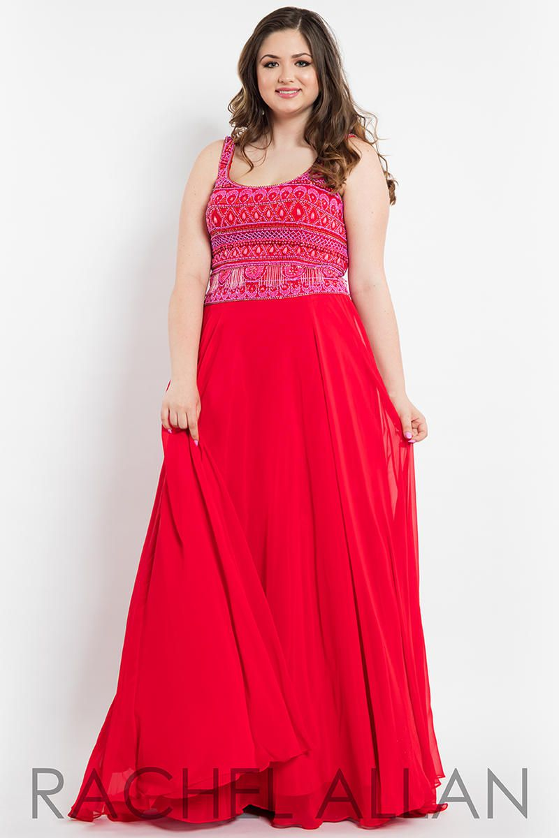 Style 7804 Rachel Allan Red Size 24 Pageant Tulle Tall Height A-line Dress on Queenly