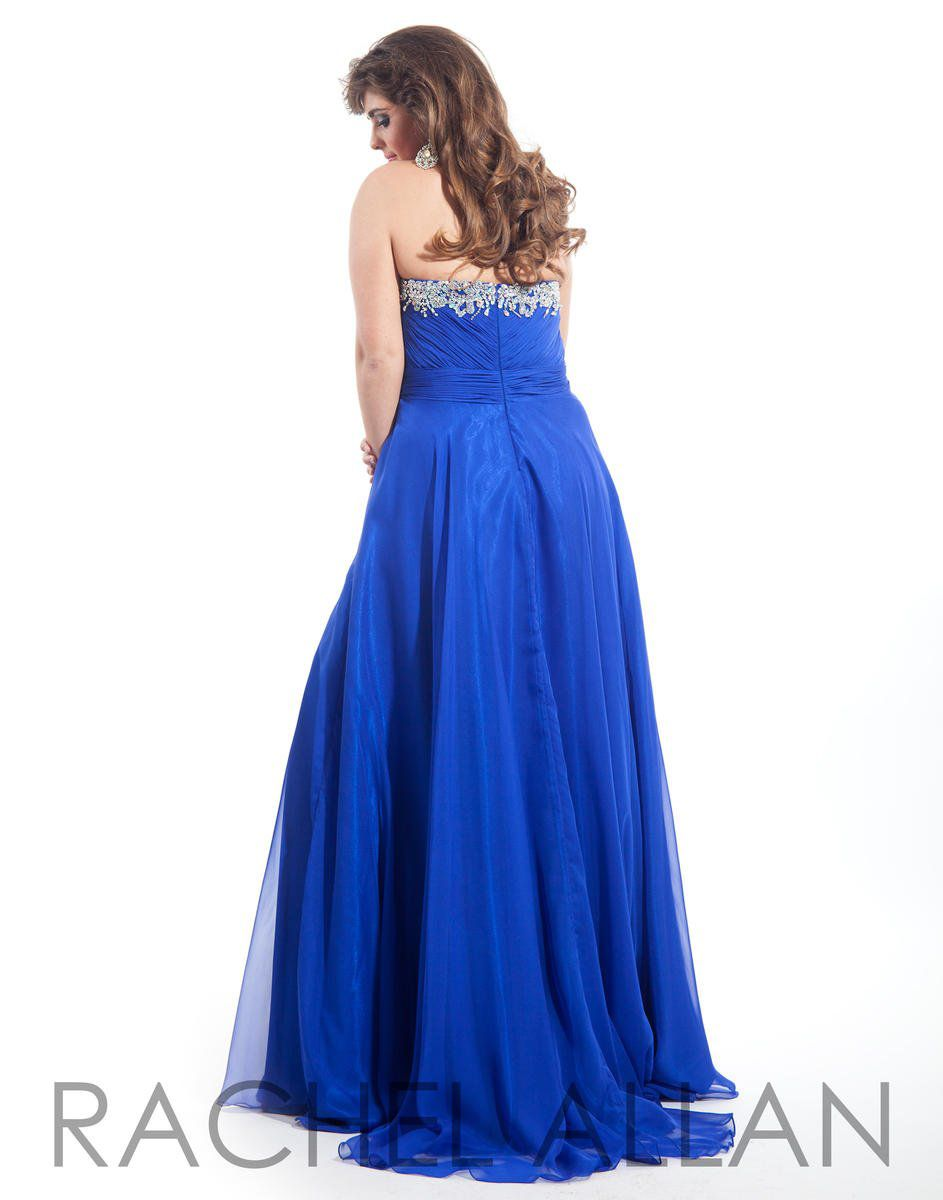 Style 7014RA Rachel Allan Blue Size 20 Tulle Plus Size Tall Height A-line Dress on Queenly
