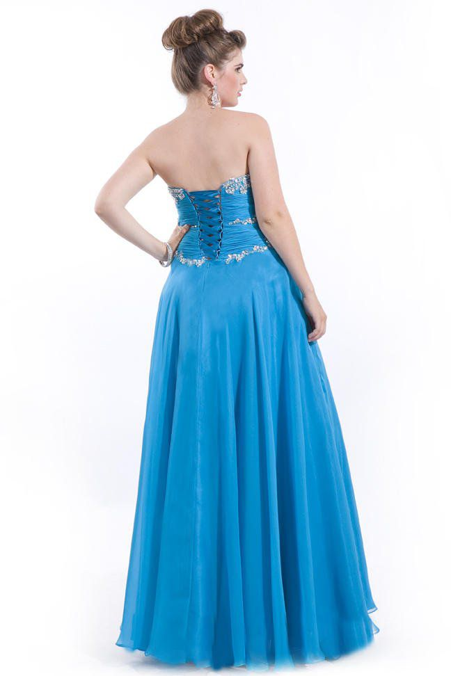 Style 6601 Rachel Allan Blue Size 22 Tulle Plus Size Tall Height A-line Dress on Queenly