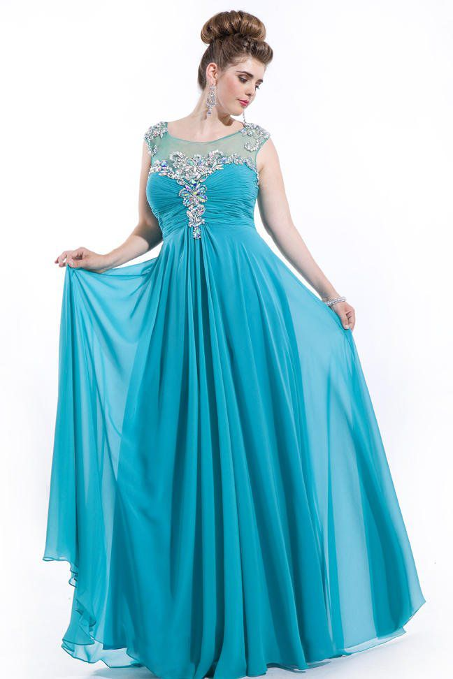 Style 6626 Rachel Allan Blue Size 22 Tulle Plus Size Tall Height A-line Dress on Queenly