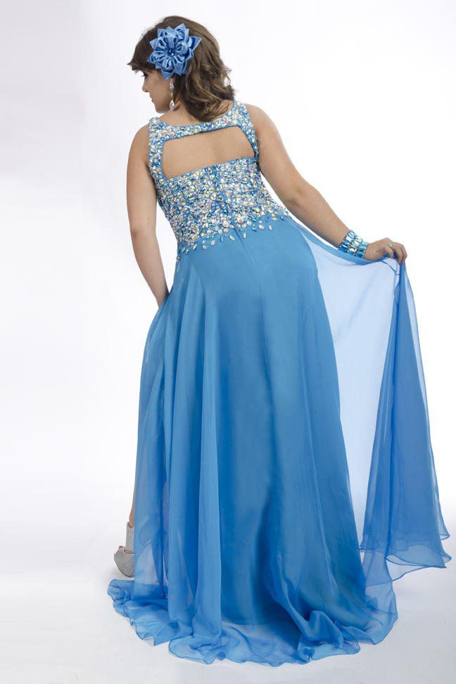Style 6245 Rachel Allan Blue Size 26 Pageant Tulle Tall Height A-line Dress on Queenly