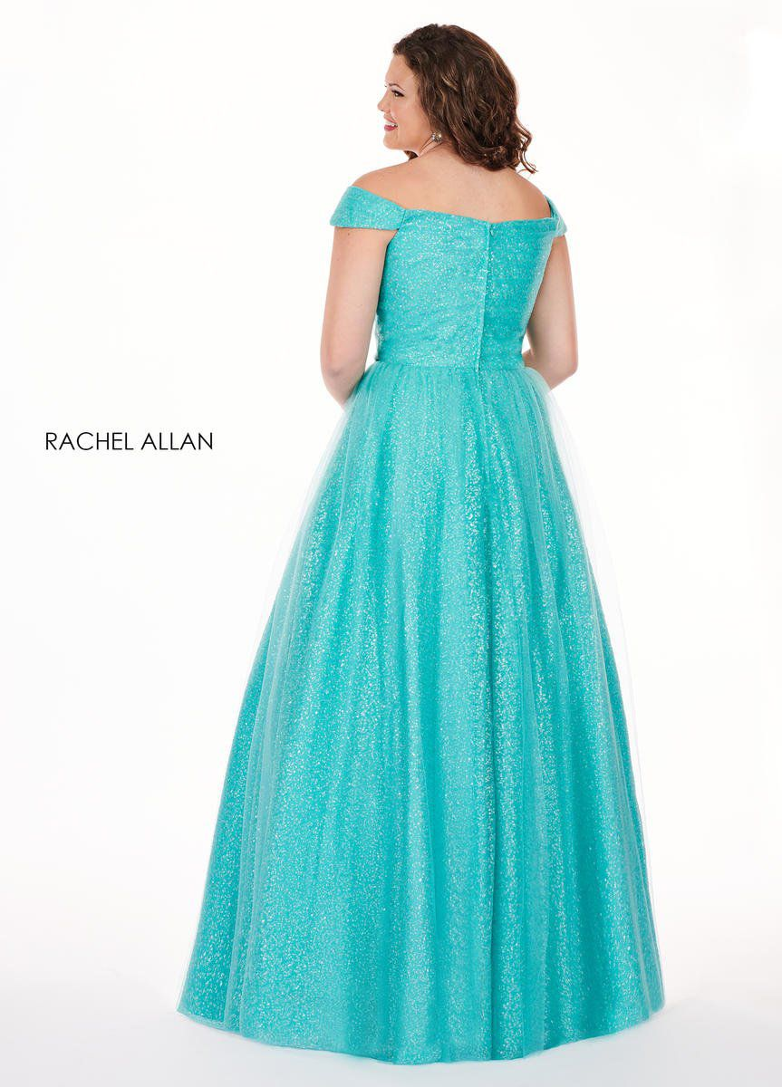 Style 6663 Rachel Allan Blue Size 14 Jewelled Tulle Tall Height A-line Dress on Queenly