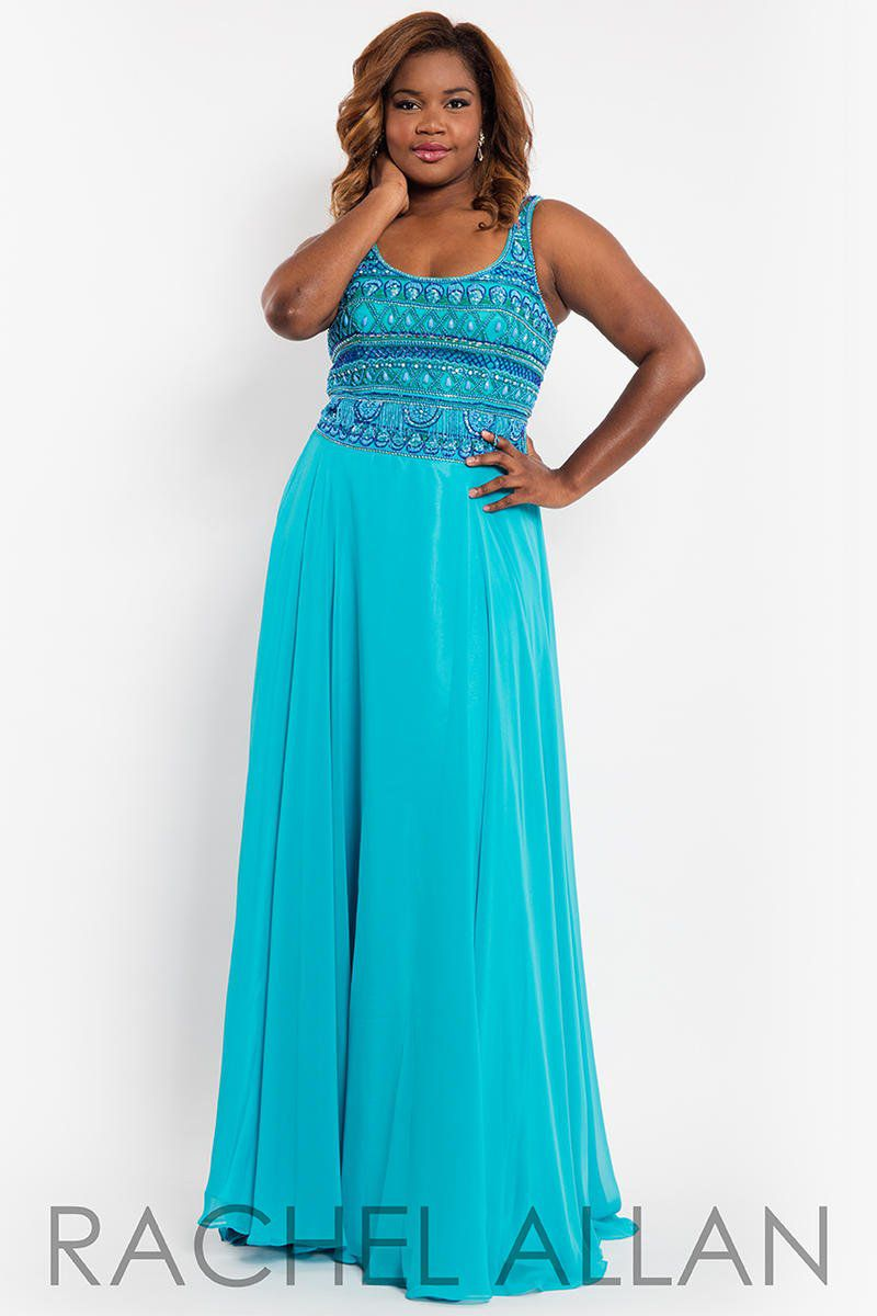Style 7804 Rachel Allan Blue Size 20 Tulle Tall Height A-line Dress on Queenly