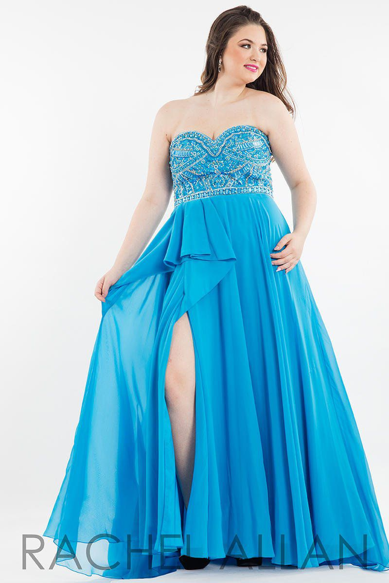 Style 7831 Rachel Allan Blue Size 14 Pageant Plus Size Tall Height Side slit Dress on Queenly