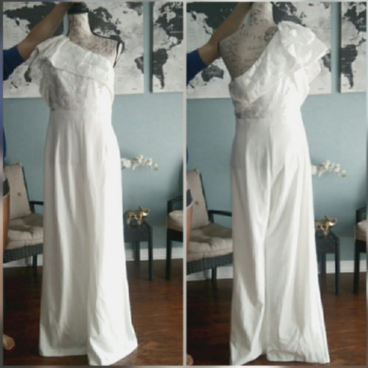 Adrianna Papell White Size 10 Wedding Pageant Lace Wedding Guest Jumpsuit Dress on Queenly
