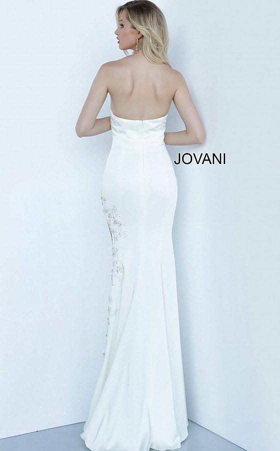Jovani White Size 00 Prom Wedding Side slit Dress on Queenly