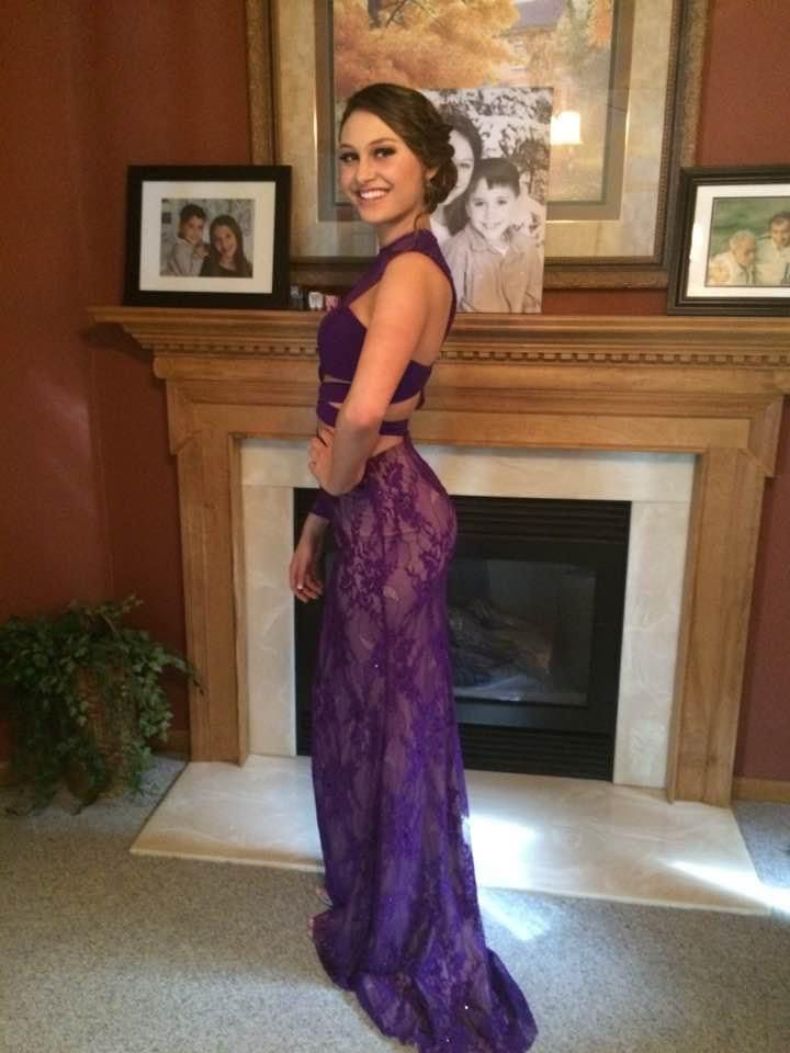 Sherri Hill Purple Size 00 Prom One Shoulder Sheer Straight Dress on Queenly