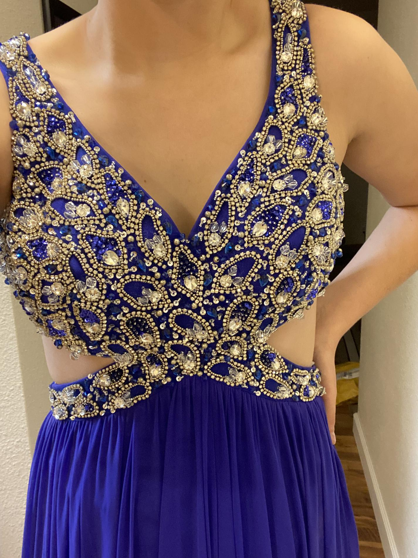 Jovani Blue Size 4 Prom A-line Dress on Queenly