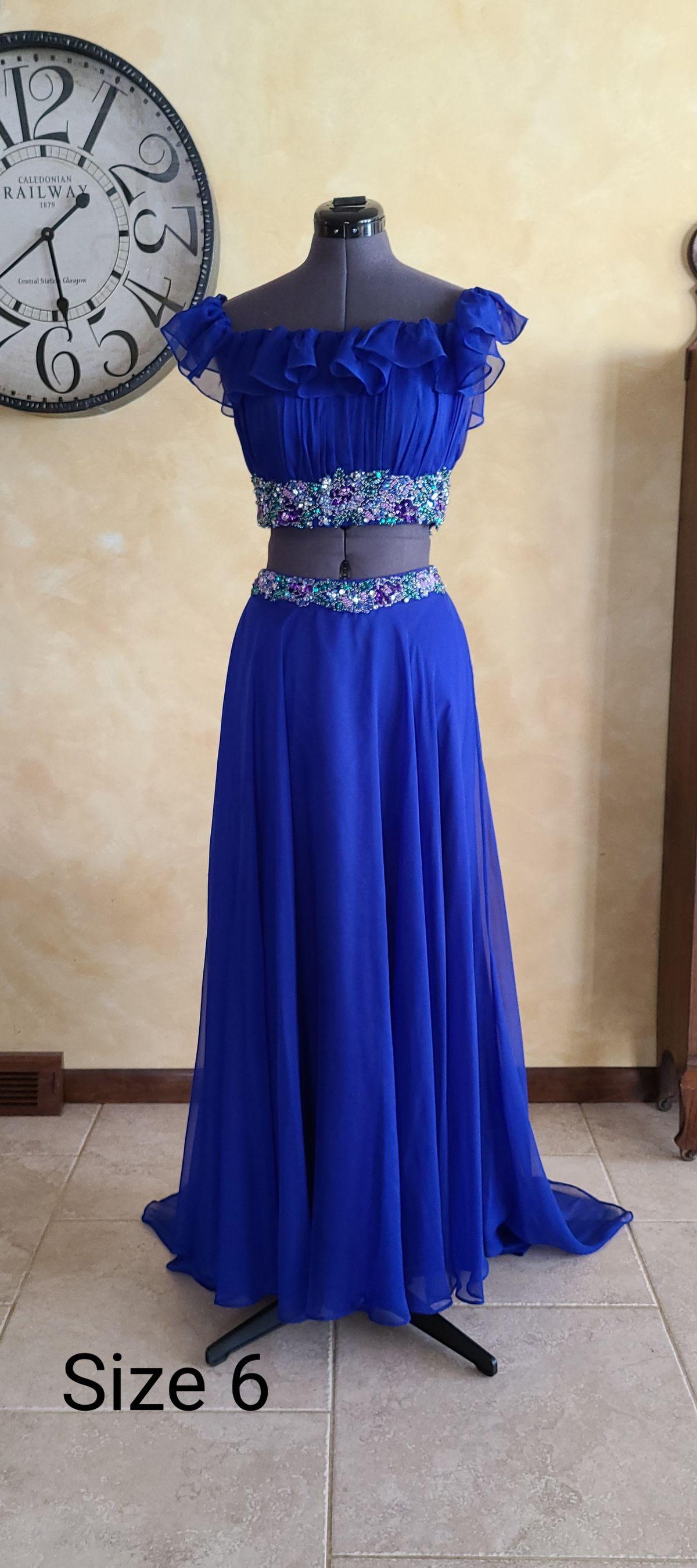 Rachel Allan Blue Size 6 Pageant Short Height A-line Dress on Queenly