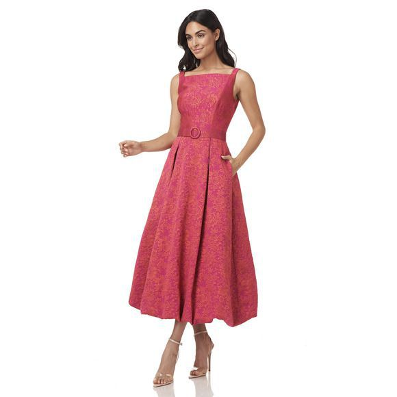 Style Juliet Kay Unger Pink Size 4 Boat Neck Tall Height Wedding Guest A-line Dress on Queenly