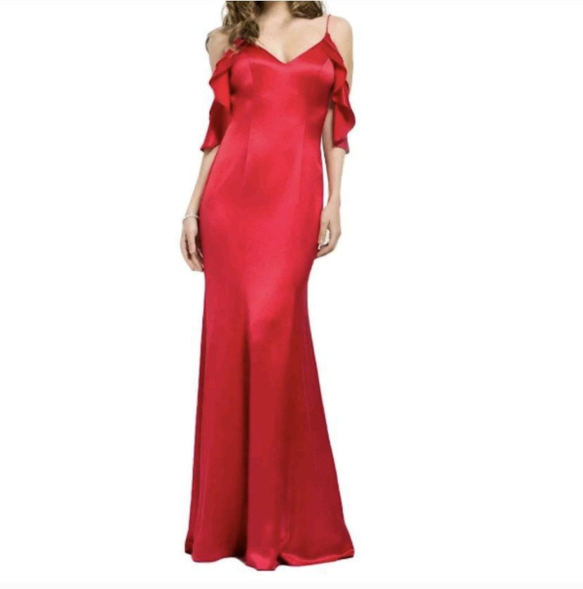 Jovani Red Size 4 Backless Train Wedding Guest A-line Dress on Queenly