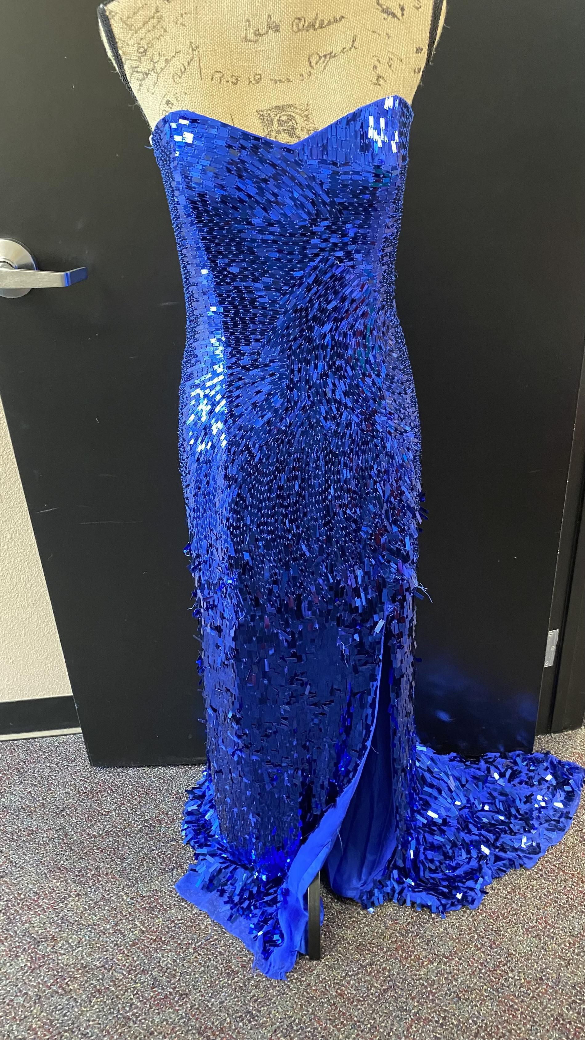 Sherri Hill Blue Size 12 Pageant Plus Size Side slit Dress on Queenly