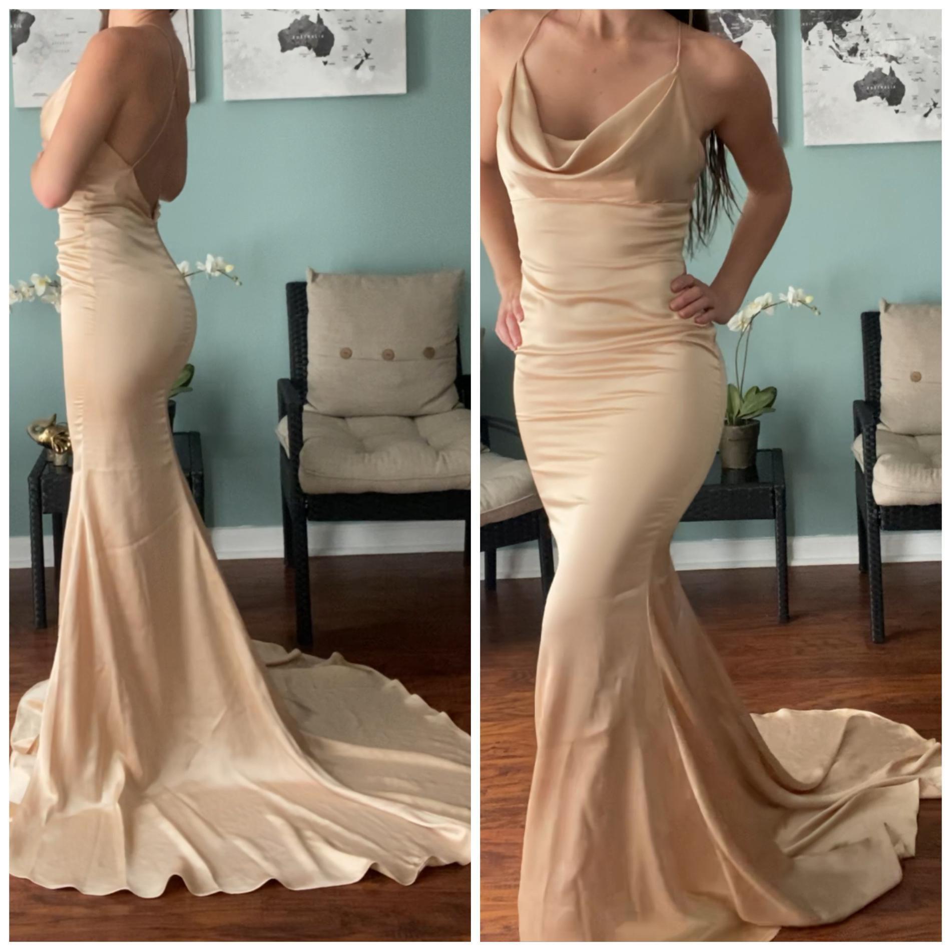 Portia & Scarlett Nude Size 0 Train Wedding Guest Mermaid Dress on Queenly