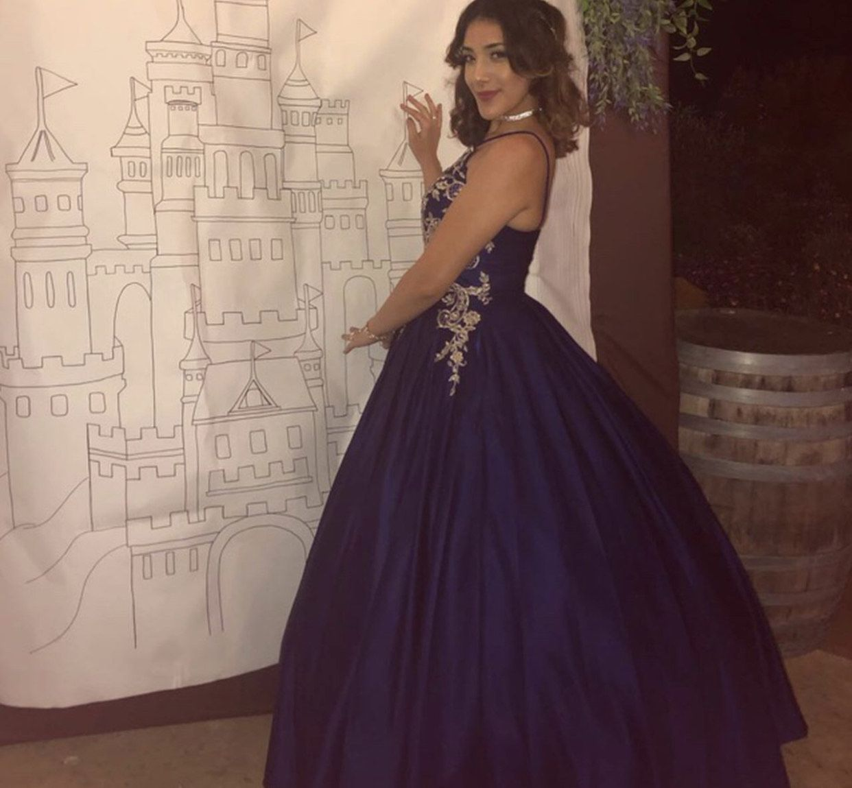 Windsor Blue Size 4 Halter Fitted Ball gown on Queenly