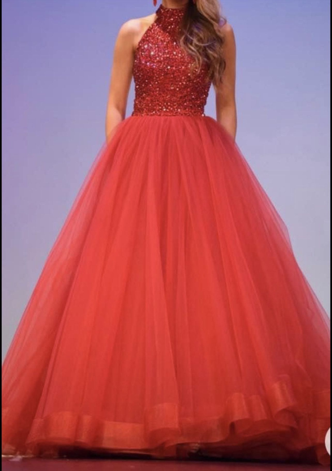 Red Size 0 Train Dress on Queenly