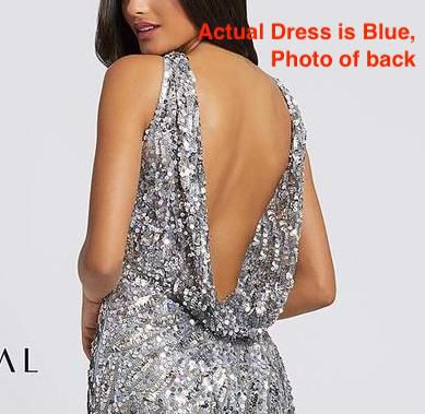 Style 3434 Mac Duggal Blue Size 4 Backless Tall Height Side slit Dress on Queenly
