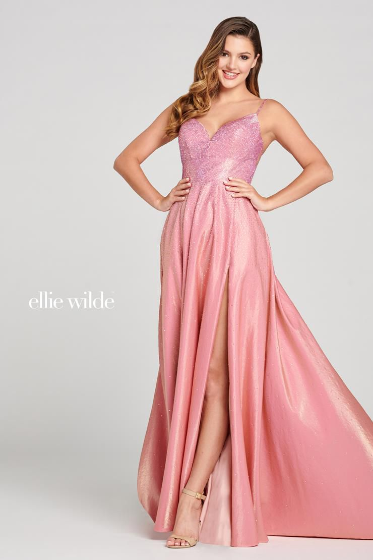 Style EW121001 Ellie Wilde Pink Size 2 Pageant Tall Height Side slit Dress on Queenly