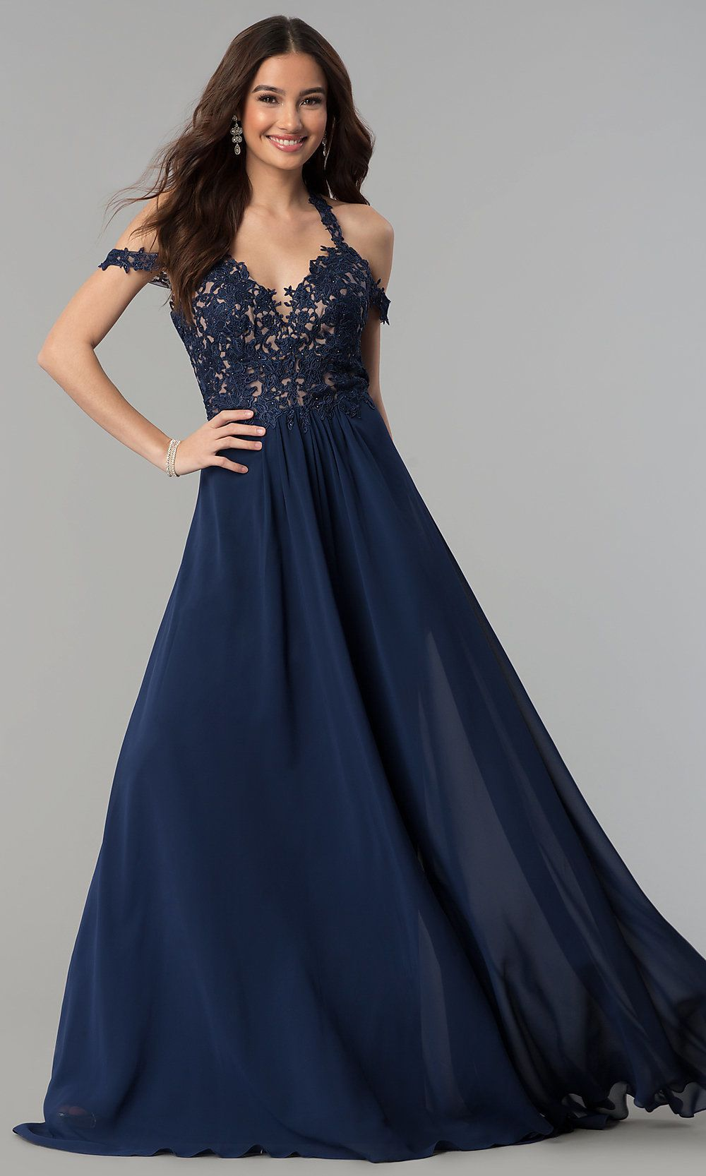 Style 10006 Faviana Blue Size 10 Tall Height Lace Wedding Guest A-line Dress on Queenly