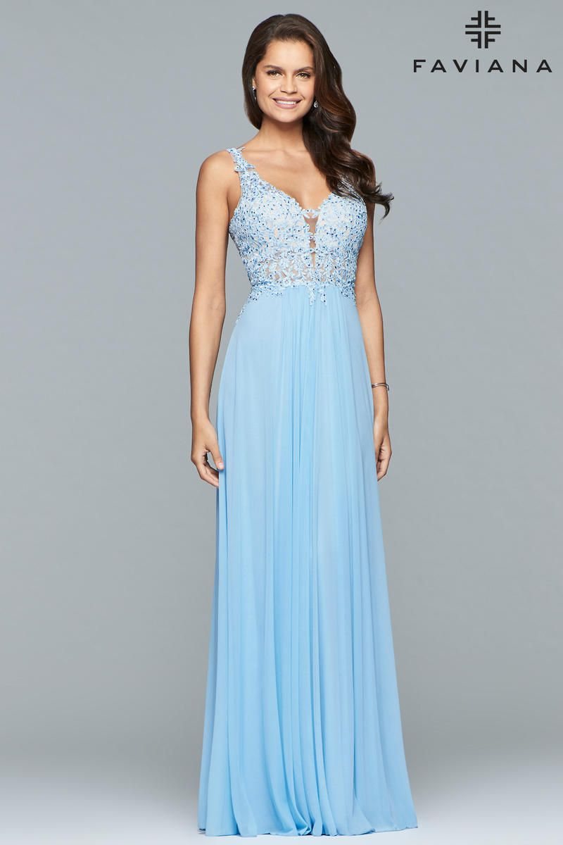 Style 8000 Faviana Blue Size 10 Tall Height Wedding Guest Straight Dress on Queenly